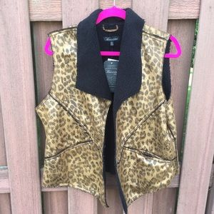2/$30 NEW Baccini Sherpa Animal Print Open Vest